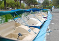 Pedal rental boats in a city park. Royalty Free Stock Photo