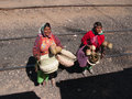 Peddling at train stop tarahumara indians peddle their goods a Royalty Free Stock Photography