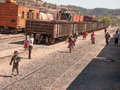 Peddling at train stop tarahumara indians peddle their goods a Royalty Free Stock Images