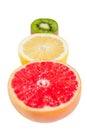 Pedestal fruit light fruit kiwi grapefruit lemon a Stock Photography
