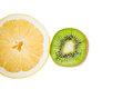 Pedestal fruit light fruit kiwi lemon a Stock Photo