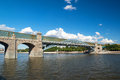 Pedestrian andreevsky bridge in moscow russia Stock Photo