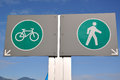 Pedestrian and bicycle road sign Royalty Free Stock Images