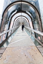 Pedestrian bridge with glass dome Royalty Free Stock Image