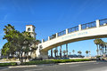 Pedestrian bridge huntington beach ca march the spans the coast highway from the hyatt regency to the side Stock Image