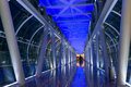 Pedestrian bridge the interior architecture and structure of Stock Images