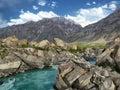 Pedestrian bridge in the mountains through mountain small river gorno badakhshan tajikistan Stock Photo