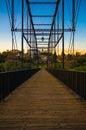 Pedestrian bridge over the American River - Folsom, California Royalty Free Stock Photo