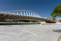 Pedestrian bridge over the park in Valencia. Royalty Free Stock Photo