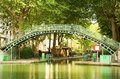 Pedestrian bridge over the Saint-Martin canal Royalty Free Stock Photography