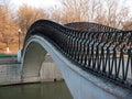 Pedestrian bridge Tamozhennyj across the river Yauza . Moscow Royalty Free Stock Photo