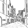 Pedestrian cozy street in perspective european downtown landscape vector illustration the old european city with church on the Stock Photography