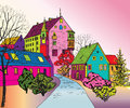 Pedestrian cozy street in perspective funky journey predistant euoropean city colorful panorama city background s pop art style Royalty Free Stock Images