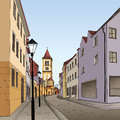 Pedestrian cozy street in perspective the old european city with tower on the background historic city hand drawn sketch vector Royalty Free Stock Image