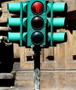 Pedestrian crossing lights and traffic lights red grey light detail Royalty Free Stock Image