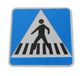 Pedestrian crossing sign isolated on white background Stock Photos