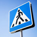 Pedestrian Crossing Sign in Moscow Stock Images