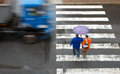 Pedestrian crossing with truck in the rain Stock Images