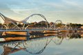 Pedestrian Foot  Bridge  Tempe Beach Park Arizona At sunset Royalty Free Stock Photo
