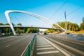 Pedestrian footbridge over street in Helsinki Royalty Free Stock Photo