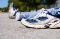 Pedestrian hit and run victim on road Royalty Free Stock Images