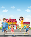 A pedestrian lane with a happy family illustration of Royalty Free Stock Images