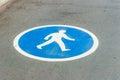 Pedestrian lane sign on asphalt Royalty Free Stock Photo