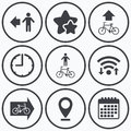 Pedestrian road icon. Bicycle path trail sign. Royalty Free Stock Photo
