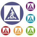 Pedestrian road sign icons set