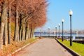 Pedestrian sidewalk along the banks of the river volga yaroslavl russia Stock Photography