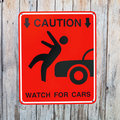 Pedestrian sign caution watch for cars Stock Photography