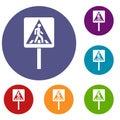 Pedestrian sign icons set