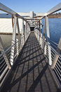 Pedestrian steel ladder and state parks oregon near a boat launch platform Stock Images