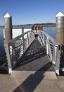 Pedestrian steel ladder and state parks oregon near a boat launch platform Royalty Free Stock Photos