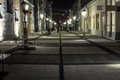 Pedestrian street at night romania sighetu marmatiei Stock Photography