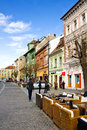 Pedestrian street old town center sibiu transylvania romania Royalty Free Stock Photo