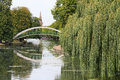 Pedestrian suspension bridge, Bedford, U K. Royalty Free Stock Photo