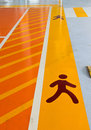 Pedestrian track at a parking lot Stock Photos