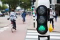 Pedestrian traffic lights with blurred street scene in the background Stock Photography