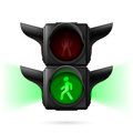 Pedestrian traffic lights realistic with green light on and sidelight illustration on white background Royalty Free Stock Photos