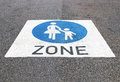 Pedestrian zone sign on the road Stock Images