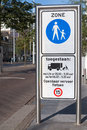 Pedestrian zone sign traffic board signalling the entrance of the and the unloading for trucks at the hague Royalty Free Stock Photo