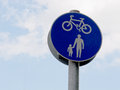 Pedestrians and cycles sign a showing Royalty Free Stock Images