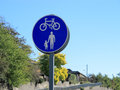 Pedestrians cycles sign a showing and Royalty Free Stock Photography