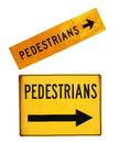 Pedestrians road signs closeup on white Royalty Free Stock Photo