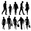 Pedestrians silhouettes of people in different poses Stock Photography
