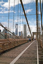 Pedestrians walkway on Brooklyn Bridge New York Stock Images