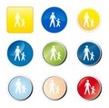 Pedestrians web button Stock Photos