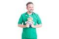 Pediatrician doctor with plush teddy bear Royalty Free Stock Photo