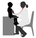 Pediatrician examining of child with stethoscope